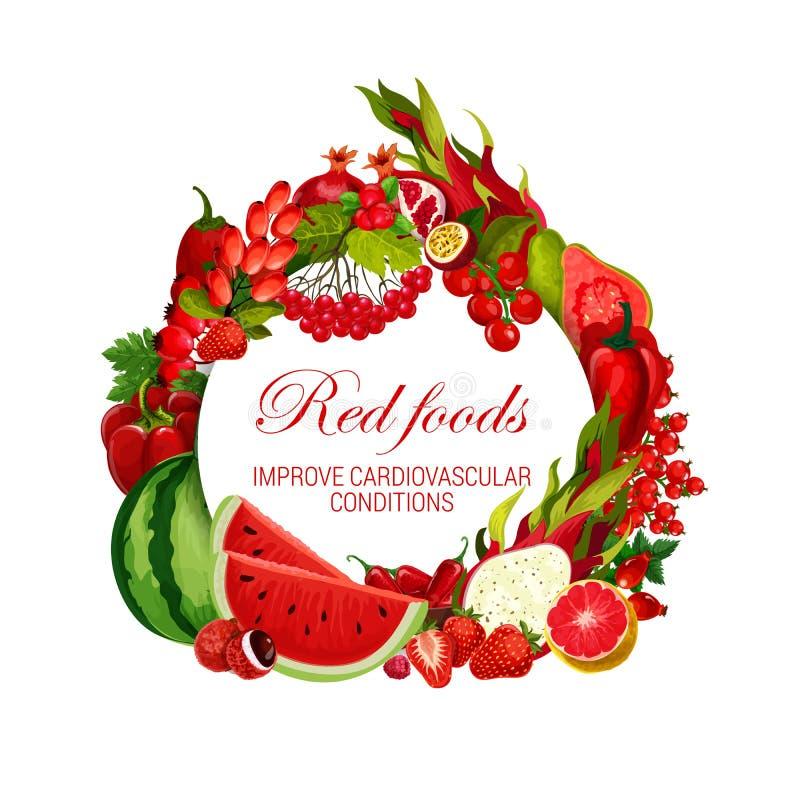 Färg bantar röda matgrönsaker, frukter och bär stock illustrationer