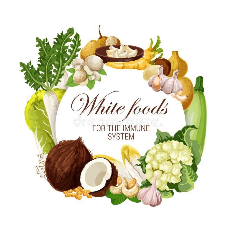 Färg bantar, vita matnäringveggies och muttrar vektor illustrationer