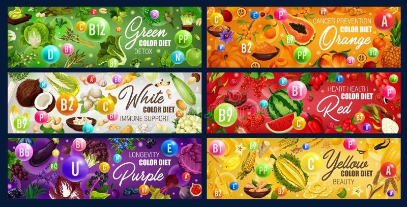 Färg bantar vitaminmat, grönsaker, fuits, örter stock illustrationer