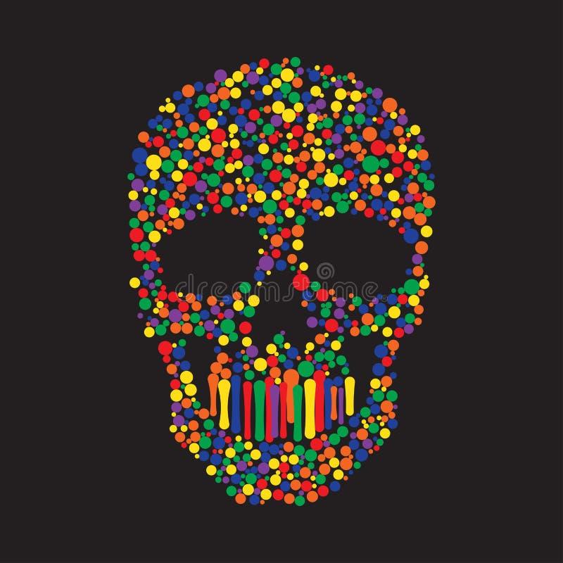 Färg Dots Skull vektor illustrationer