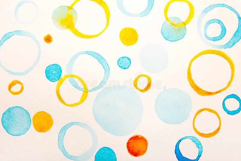 Färg för blått- och gulingcirkelvatten stock illustrationer