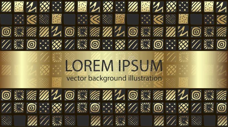 Färg för den utdragna lutningen för handen mönstrade guld- fyrkanter stock illustrationer