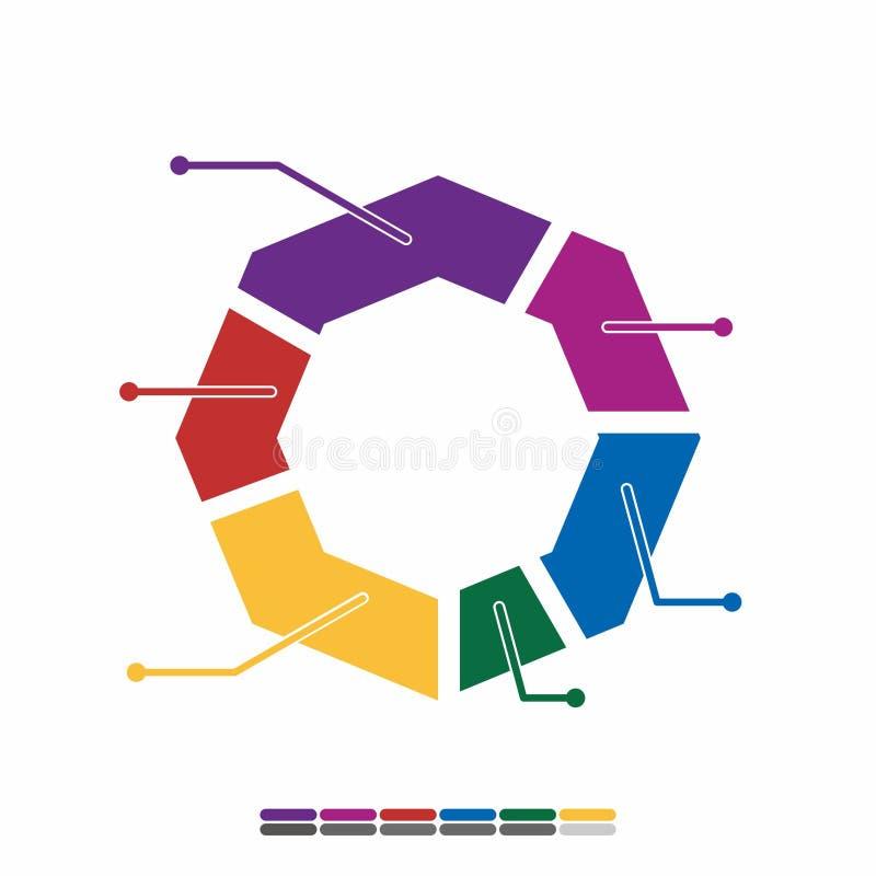 färg för design för informationsdiagramlägenhet full, grafmatematikdesign arkivbild