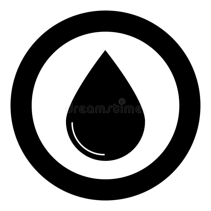 Färg för droppsymbolssvart i cirkel stock illustrationer