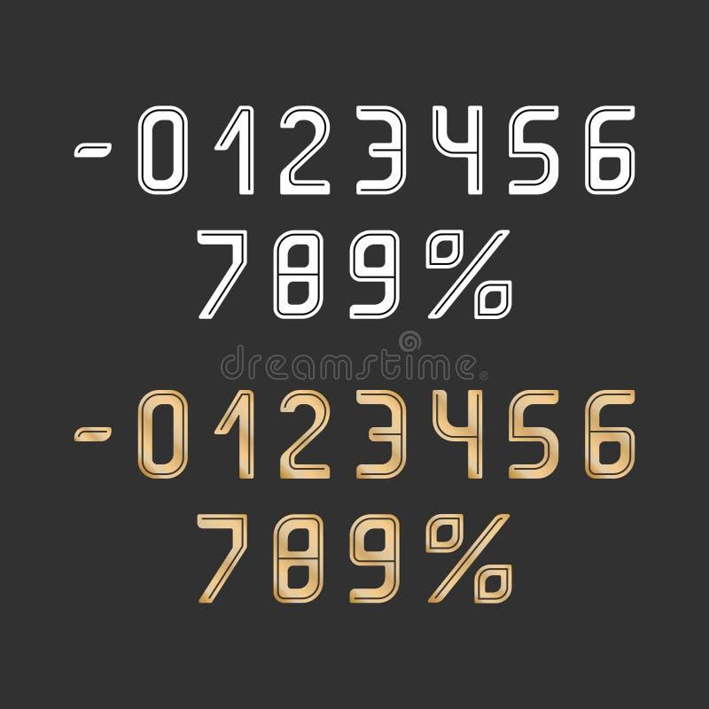 Färg för för vektornummerguld och vit med mörka linjer på grå färgfält vektor illustrationer