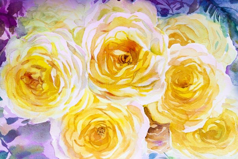Färg för guling för illustration för vattenfärg för målningflorakonst original- av rosor royaltyfri illustrationer