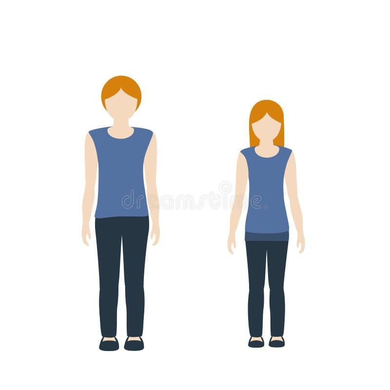 Färg för hud för ljus för för ungeteckenpojke och flicka och rött hår vektor illustrationer
