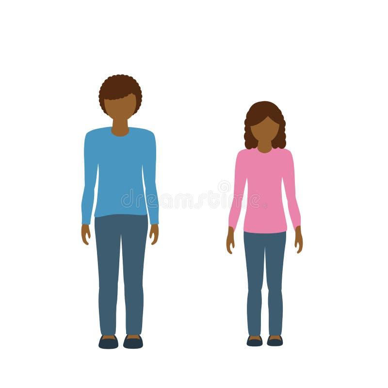 Färg för hud för för ungeteckenpojke och flicka mörk och brunt hår vektor illustrationer