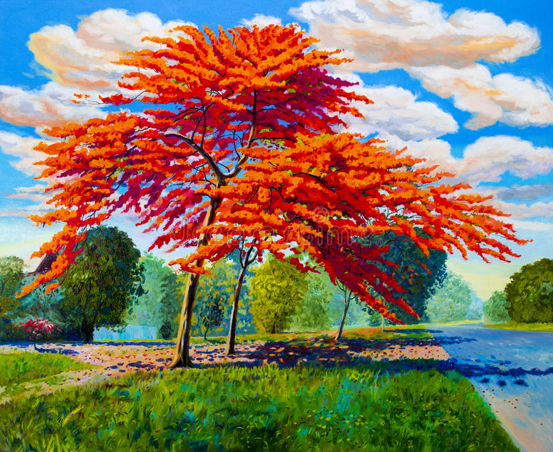 Färg för landskap för olje- målning original- röd orange av påfågeln arkivfoton