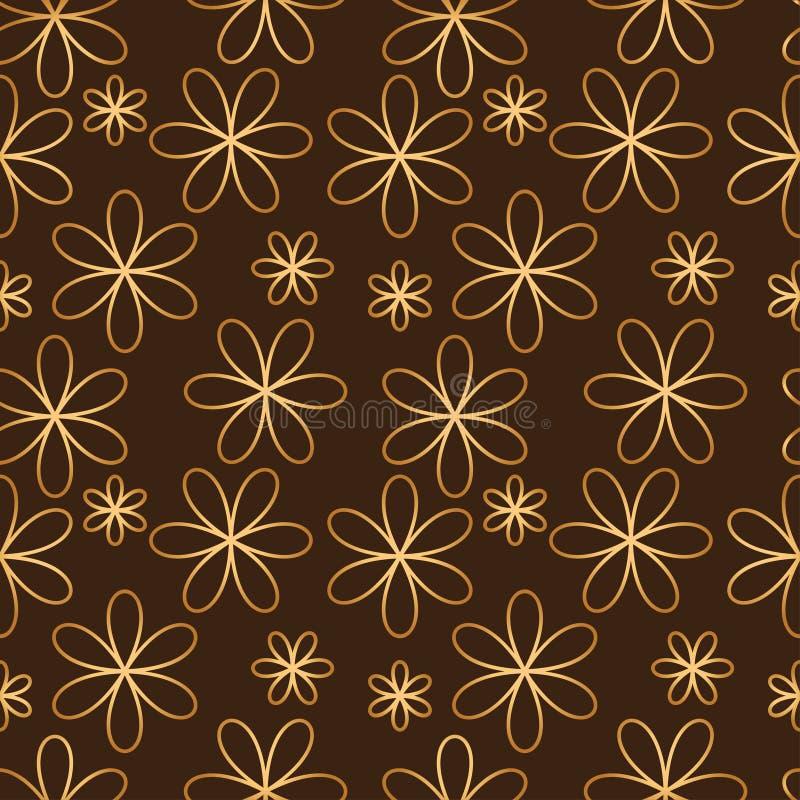 Färg för sömlös modell för blomma guld- stock illustrationer