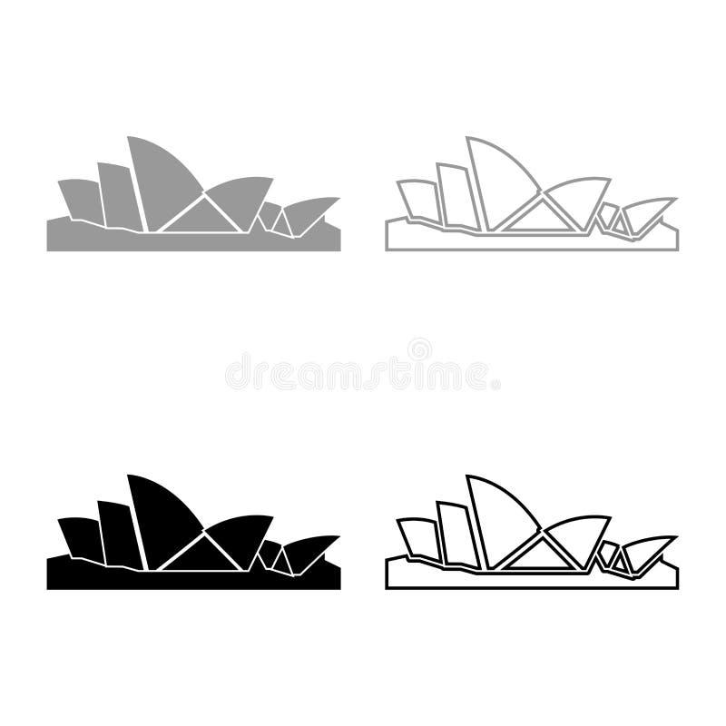 Färg för svart för grå färger för Sydney Opera House symbolsuppsättning stock illustrationer