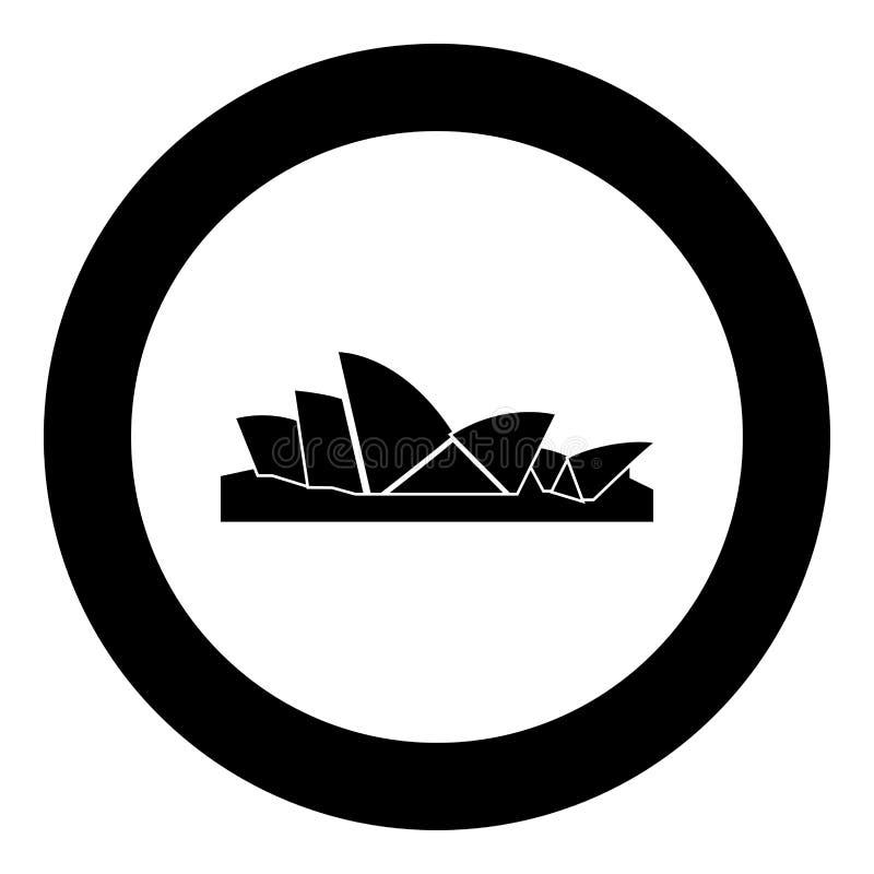 Färg för Sydney Opera House symbolssvart i cirkelrunda vektor illustrationer