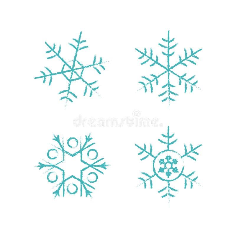Färg för uppsättning för bakgrund för snöflingavektorsymbol vit För julsnö för vinter blå beståndsdel för kristall för flinga Col stock illustrationer