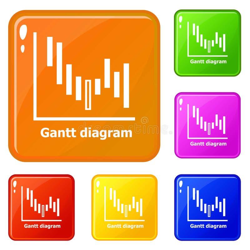 Färg för vektor för Gantt diagramsymboler fastställd stock illustrationer