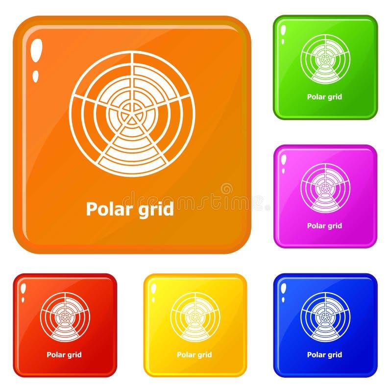 Färg för vektor för polara rastersymboler fastställd vektor illustrationer