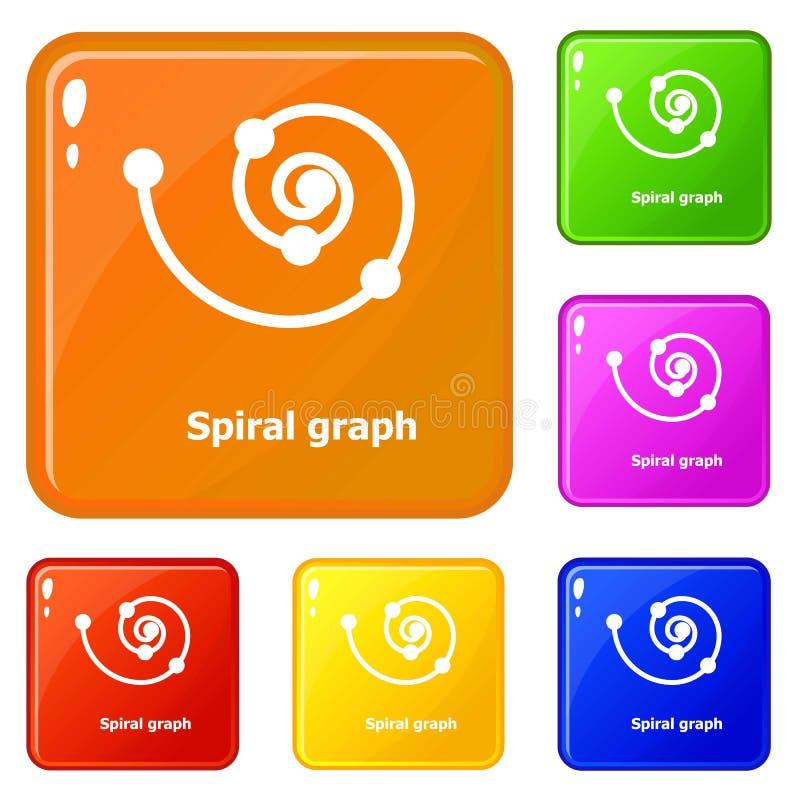 Färg för vektor för spirala grafsymboler fastställd stock illustrationer