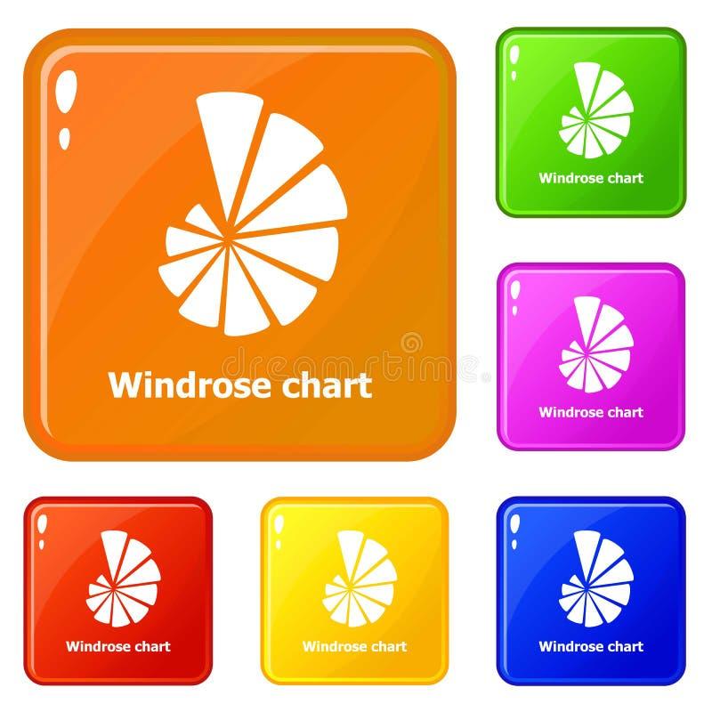 Färg för vektor för Windrose diagramsymboler fastställd royaltyfri illustrationer