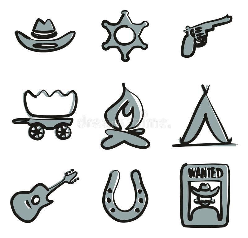 Färg 2 för vilda västernsymboler Freehand stock illustrationer