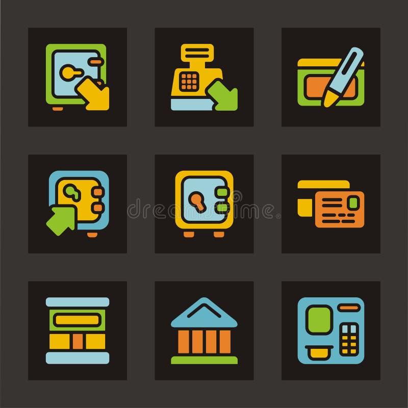 färg finansierar symbolsserie stock illustrationer