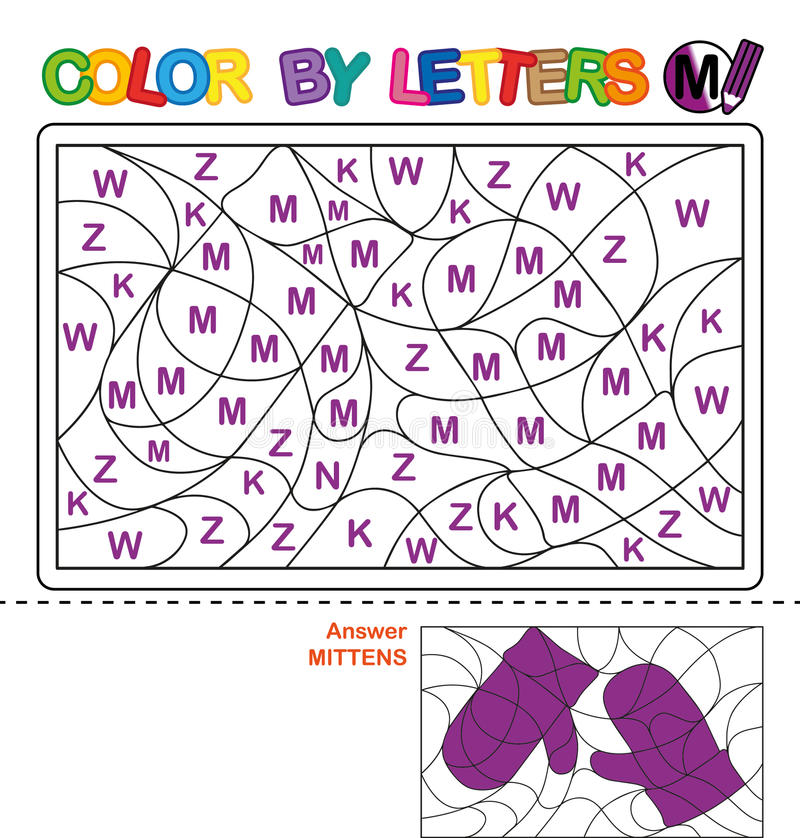 Färg genom brev Pussel för barn mittens vektor illustrationer