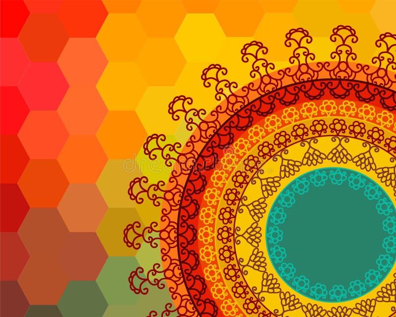 Färg Henna Mandala Background stock illustrationer
