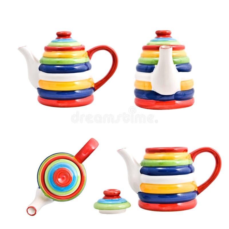 färg isolerade teapotwhite fotografering för bildbyråer