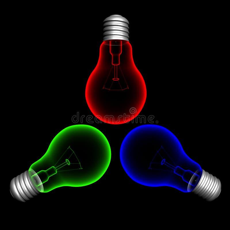 färg lightbulbs1 royaltyfri illustrationer