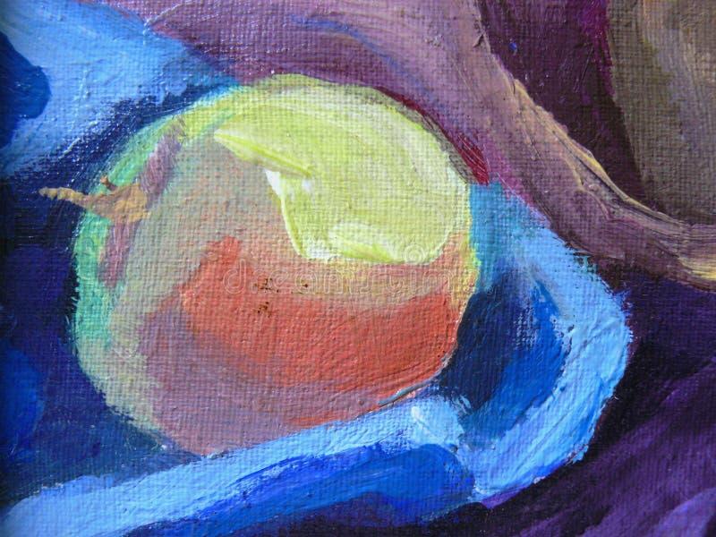 Färg målat äpple på kanfas royaltyfri illustrationer