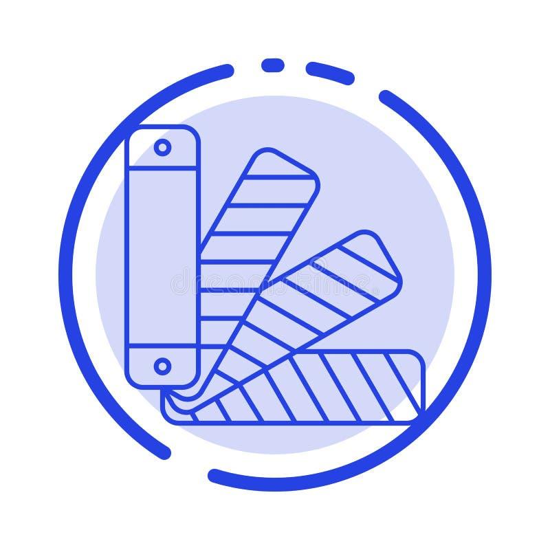Färg palett, Pantone, blå prickig linje linje symbol för provkarta vektor illustrationer