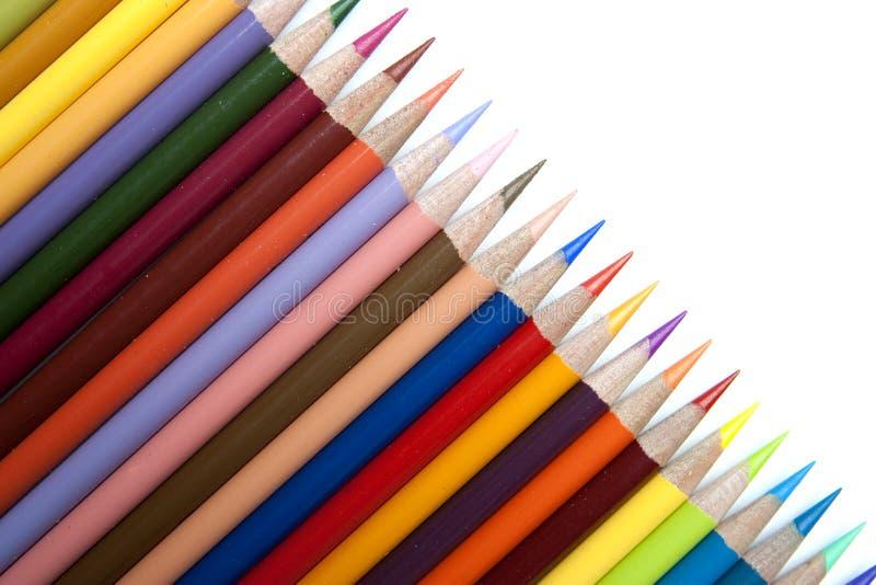 färg pencils rad royaltyfri bild