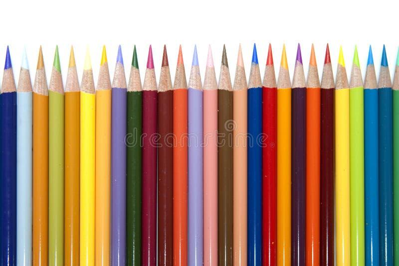 färg pencils rad fotografering för bildbyråer