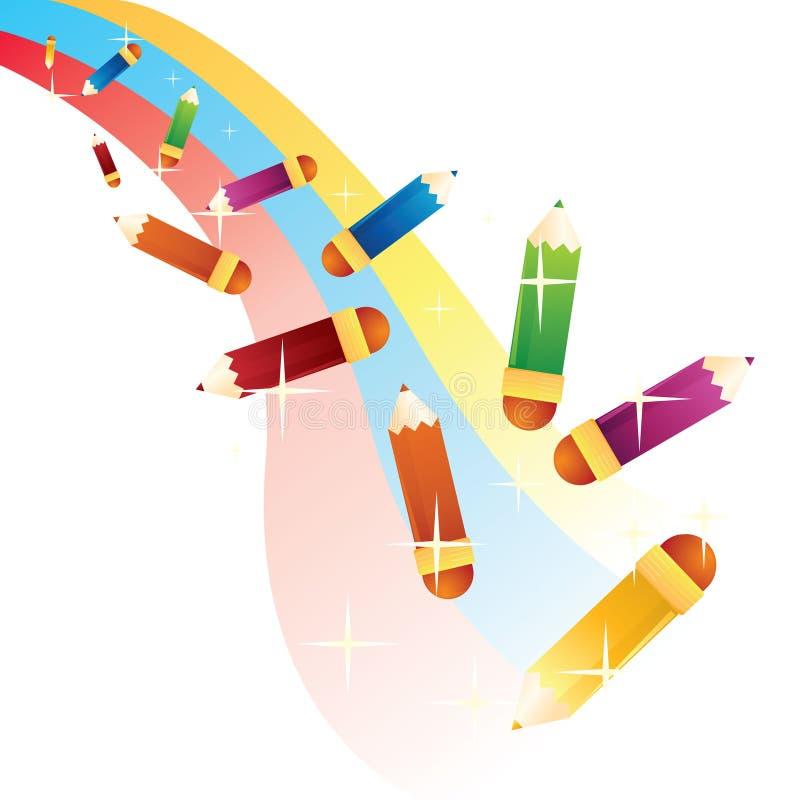 färg pencils regnbågen vektor illustrationer
