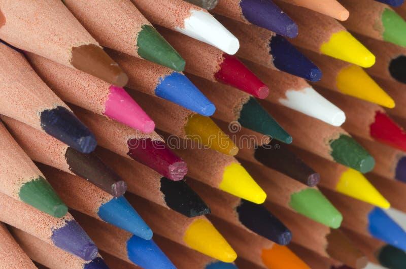 färg pencils spetsar royaltyfria bilder