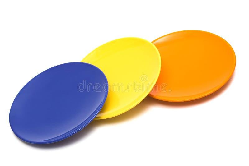 färg plates tre royaltyfri fotografi