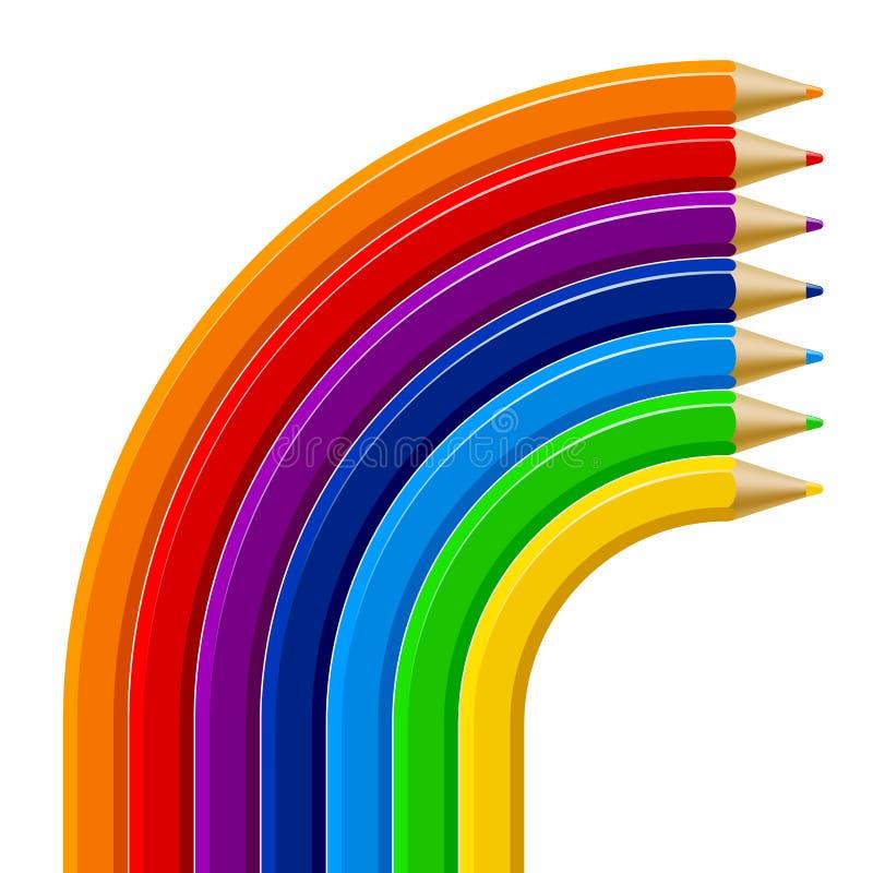 Färg ritar regnbågemallen på vit bakgrund stock illustrationer