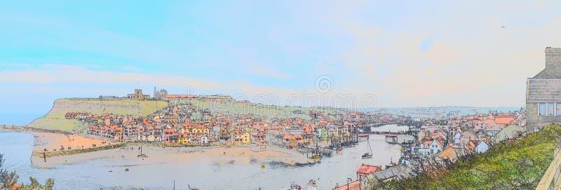 Färg-skissa effekt av Whitby Town och hamnen, North Yorkshire, UK royaltyfria bilder