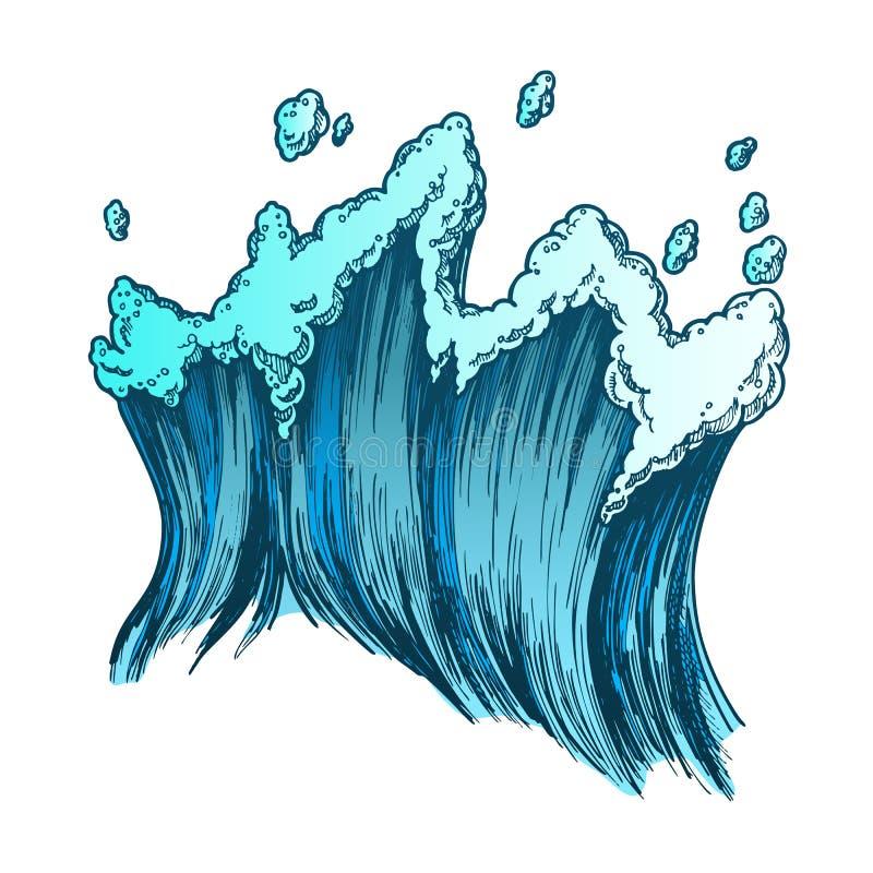 Färg som rusar det tropiska havet Marine Wave With Drop Vector vektor illustrationer