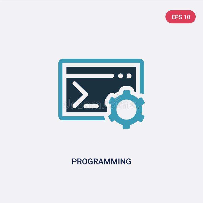 Färg som två programmerar vektorsymbolen från begrepp det isolerade blåa programmera vektorteckensymbolet kan vara bruk för rengö stock illustrationer