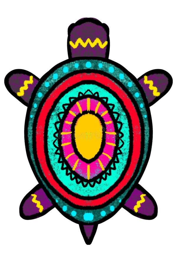 Färg stiliserad sköldpadda med prydnaden - illustration royaltyfri illustrationer