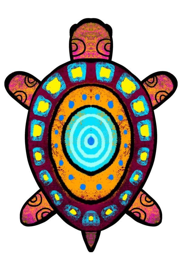 Färg stiliserad sköldpadda med prydnaden - illustration stock illustrationer