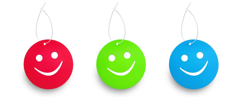 Färg tre blidkar att hänga för etiketter arkivbilder