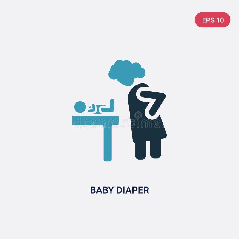 Färg två behandla som ett barn blöjavektorsymbolen från folkbegrepp det isolerade symbolet för tecknet för baby med hjärtfelblöja stock illustrationer