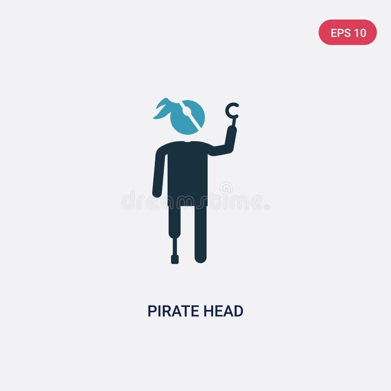 Färg två piratkopierar huvudvektorsymbolen från folkbegrepp isolerade blått piratkopierar huvudet vektortecken somsymbolet kan va stock illustrationer