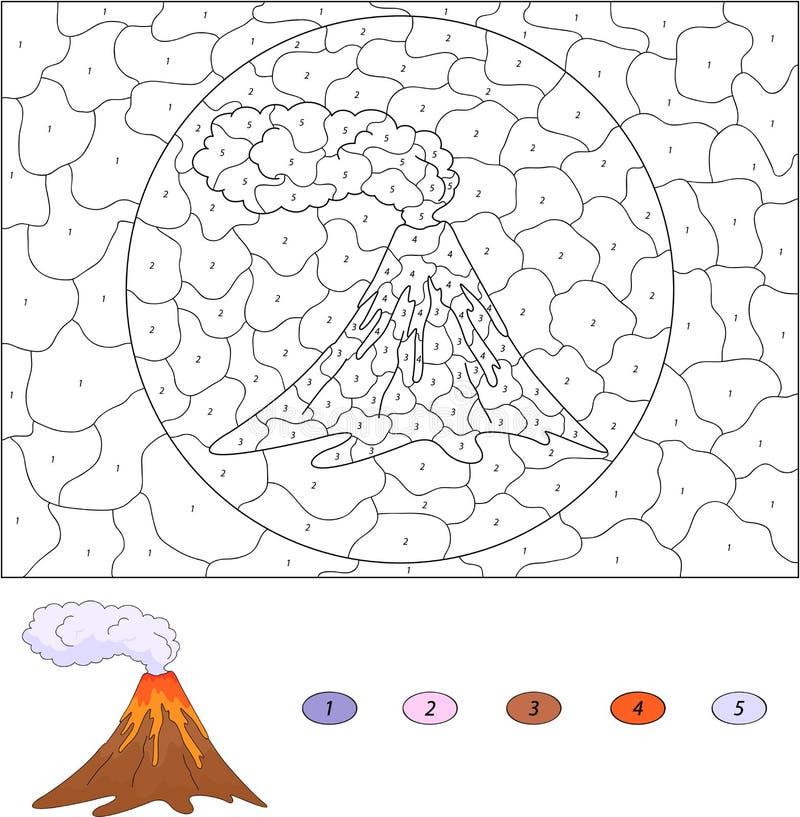 Färg vid den bildande leken för nummer för ungar vulkaniskt utbrott Ve vektor illustrationer