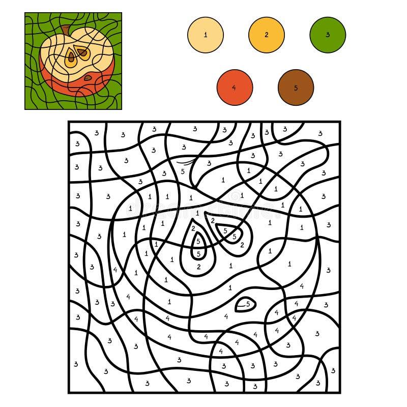 Färg vid nummer: äpple stock illustrationer
