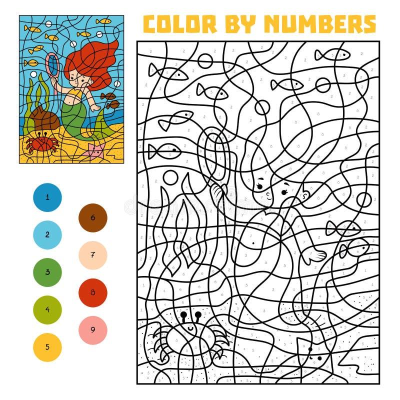 Färg vid nummer Sagor Liten sjöjungfru och en spegel vektor illustrationer