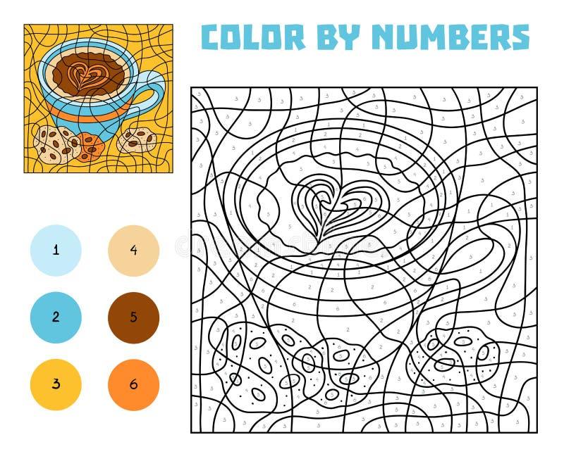 Färg vid numret, utbildningslek En kopp kaffe med kakor royaltyfri illustrationer