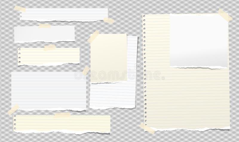 Färg vit och gul anteckning, anteckningsboksbitar med klibbigt band på grå bakgrund i fyrkant Vektorillustration vektor illustrationer