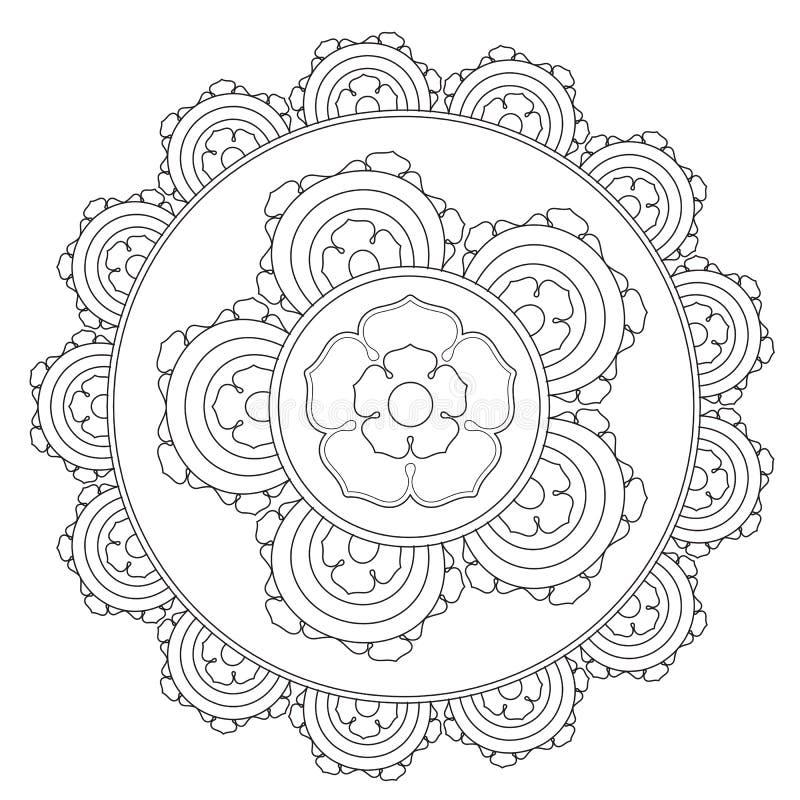 Färga översikten Mandala Flower royaltyfri illustrationer