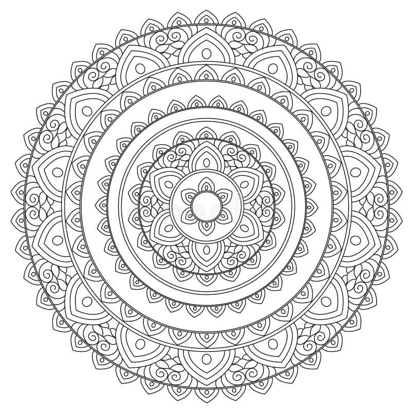 Färga översiktsarabiskamandalaen stock illustrationer